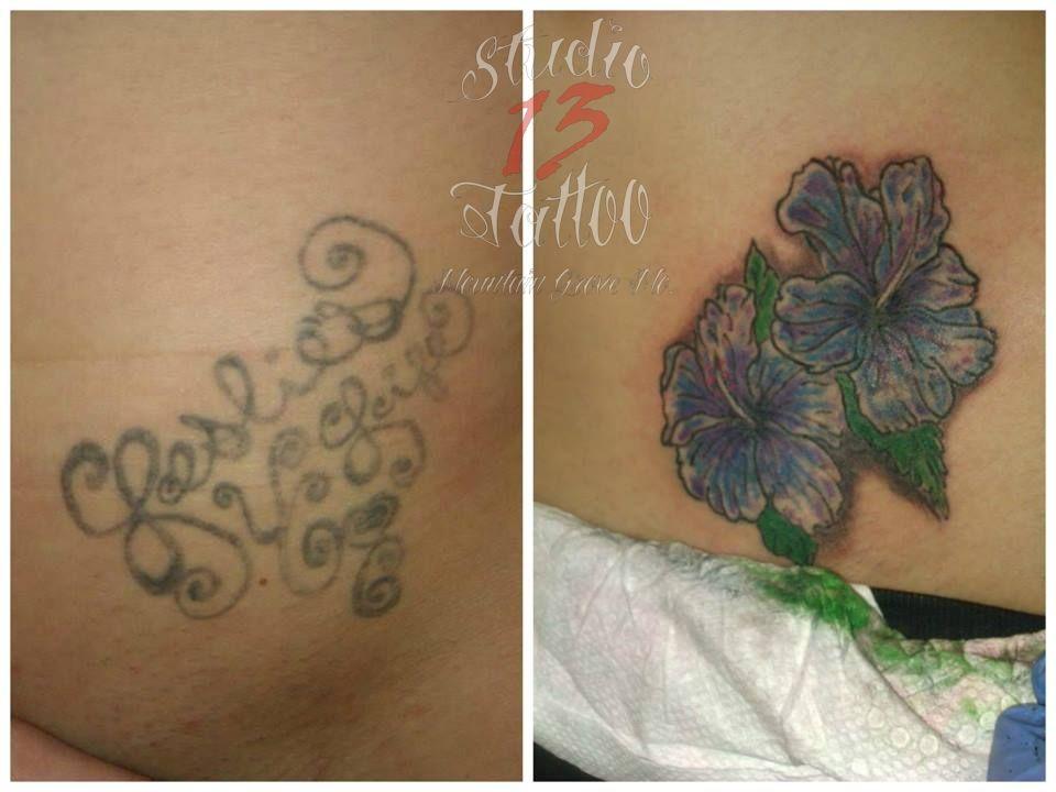 $tattoo #coverup #gone #hibiscus #hip #flowers #notcomingback #studio13tattoomo