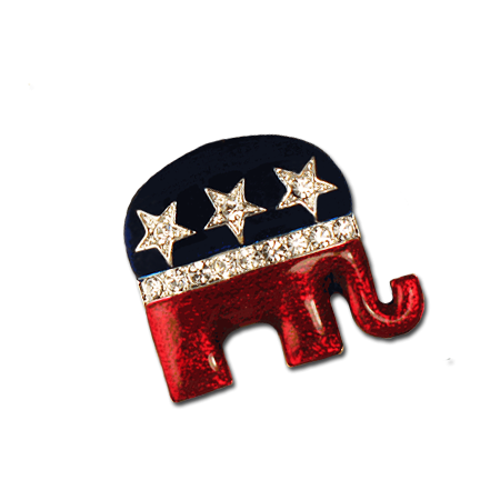 Enamel Crystal Republican Logo Pin Brooch Pin Logo Patriotic Jewelry Brooch Pin