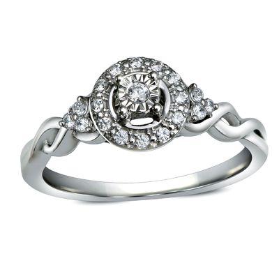 Zales 1/8 CT. T.w. Diamond Framed Promise Ring in 10K White Gold vjA2aew8dA