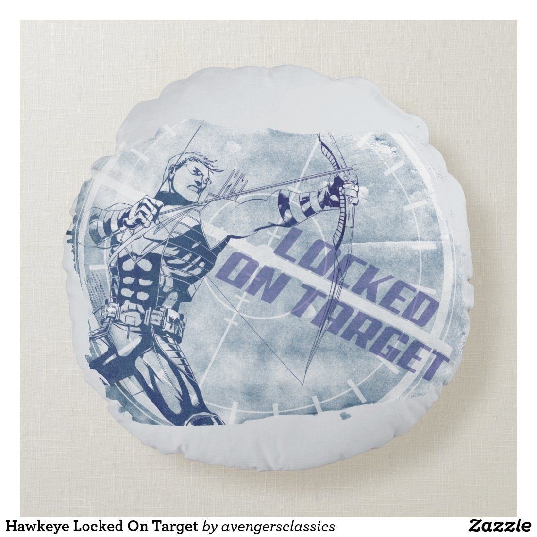 Hawkeye Locked On Target Round Pillow