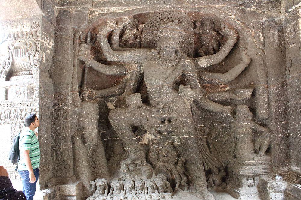 Kali Ellora Caves Aurangabad Divine Lion Sculpture Ellora