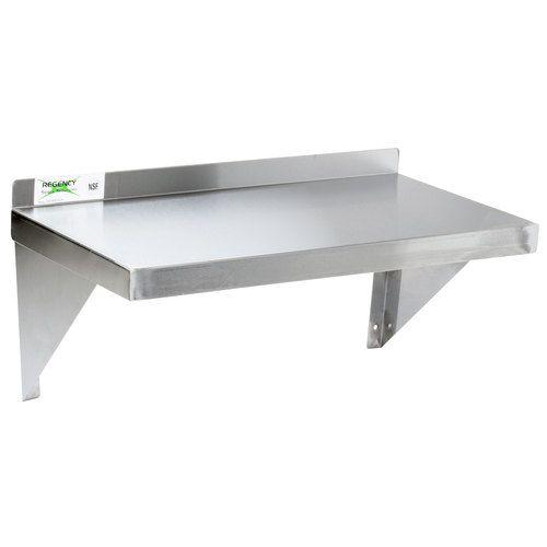 Regency 16 Gauge Stainless Steel 12 X 24 Heavy Duty Solid Wall Shelf Wall Mounted Shelves Wall Bookshelves Steel Wall