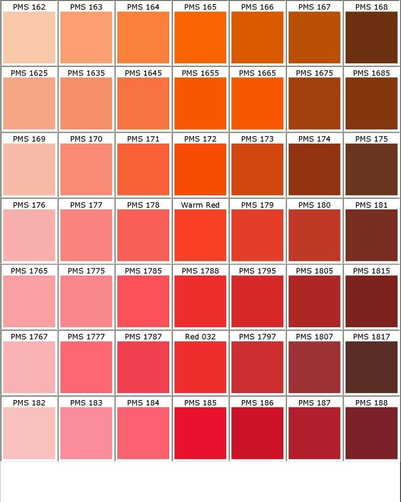 Nuancier Pantone Orange Rose Rouge Carta De Colores Pantone Tonalidades De Rojo Carta De Colores Pintura