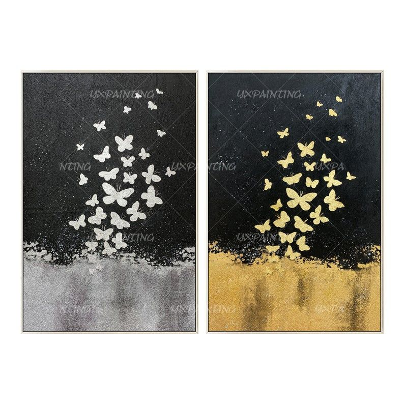Gold Leaf And Silver Leaf Set Of 2 Wall Art Abstract Butterfly Etsy Butterfly Painting Framed Wall Art Painting Frames