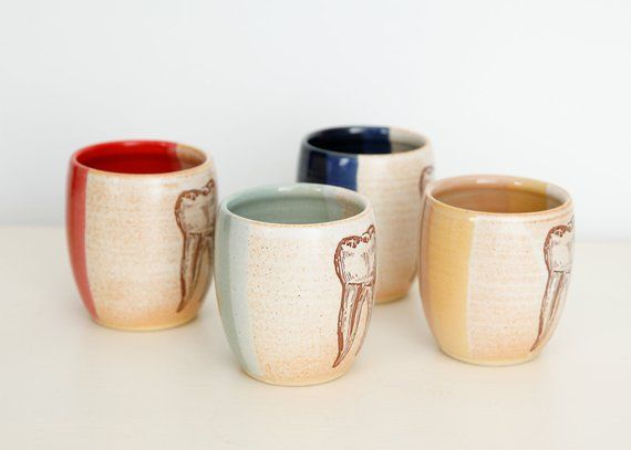 TOOTH WINE GLASS // handmade pottery cup, gift for dentist
