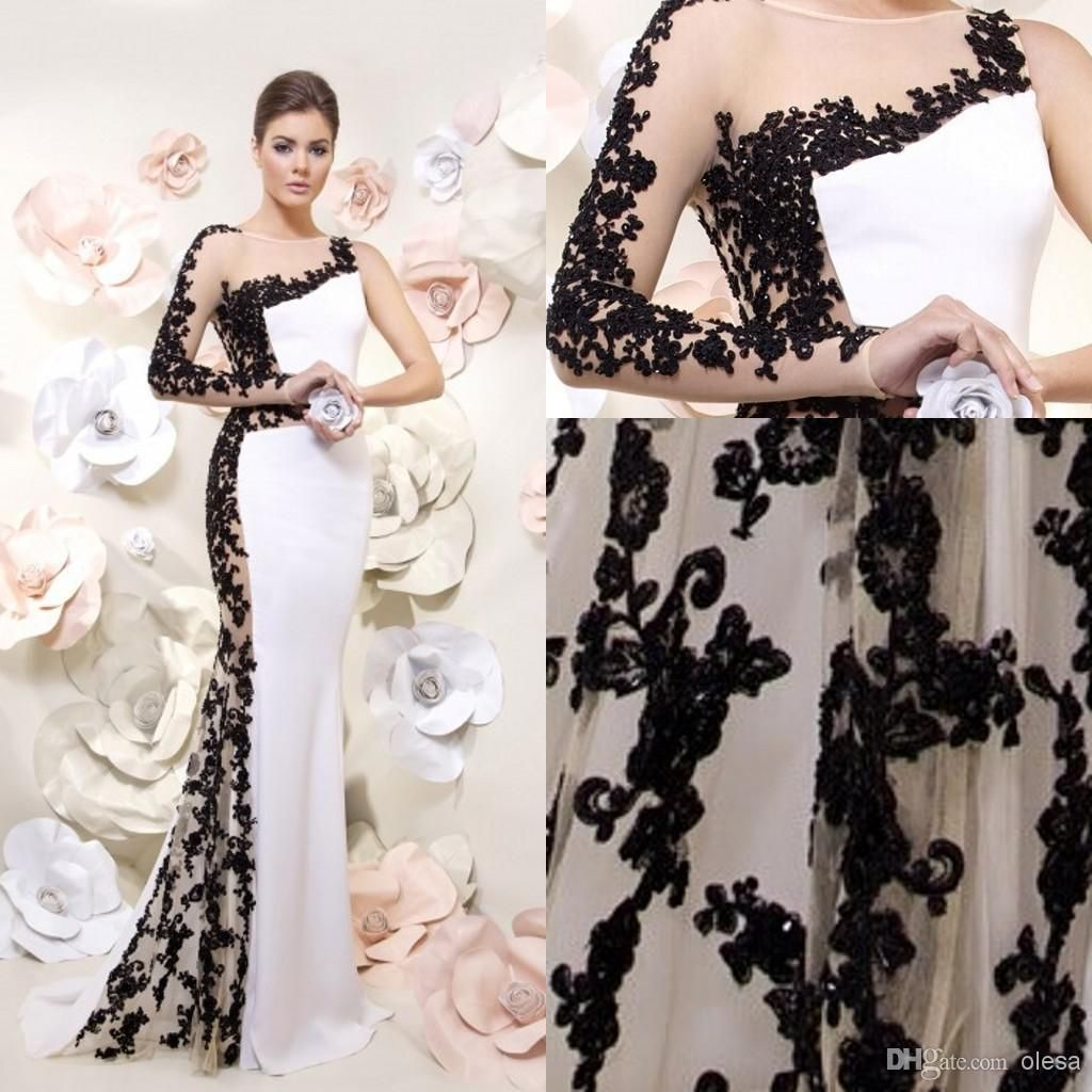 sexy black and white backless long sleeve evening dresses sheer
