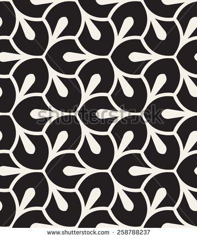 Vector Seamless Pattern Monochrome Graphic Design Decorative Geometric Leaves Regular Floral Background With Elegant Petals Modern Stylish Ornament