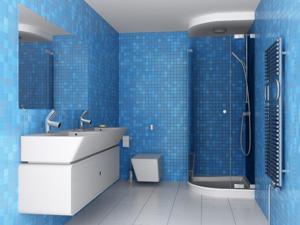 Badezimmer Mosaik ~ Mosaik blau