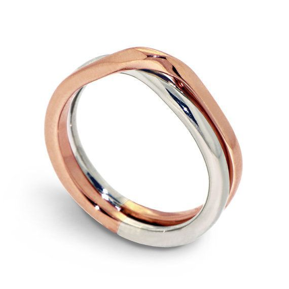 Ring White And Rose Gold Wedding Band