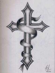 d0e010d82 Black Ink Holy Cross With Banner Tattoo Design | werhner | Cross ...