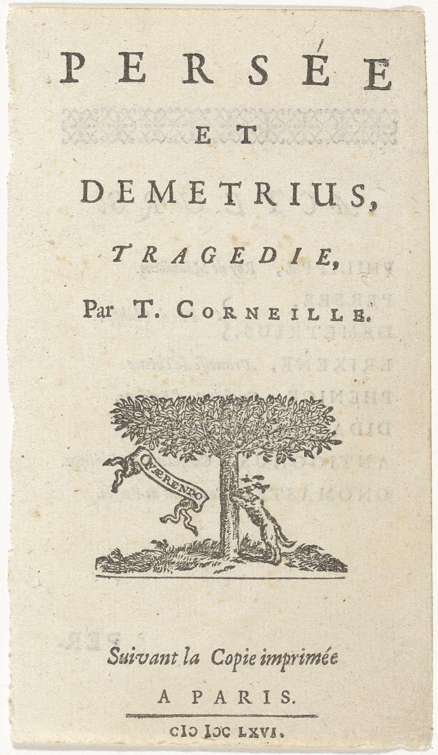 Anonymous | Hond zoekt in de stam van een boom, Anonymous, Abraham Wolfgang, 1666 | In het midden staat een hond rechtop tegen een boom. Hij zoekt iets in het gat van de boom. Links de Latijnse vertaling van 'al zoekend' op een spreukband. Verso een tekstblad met de rollen van het stuk.