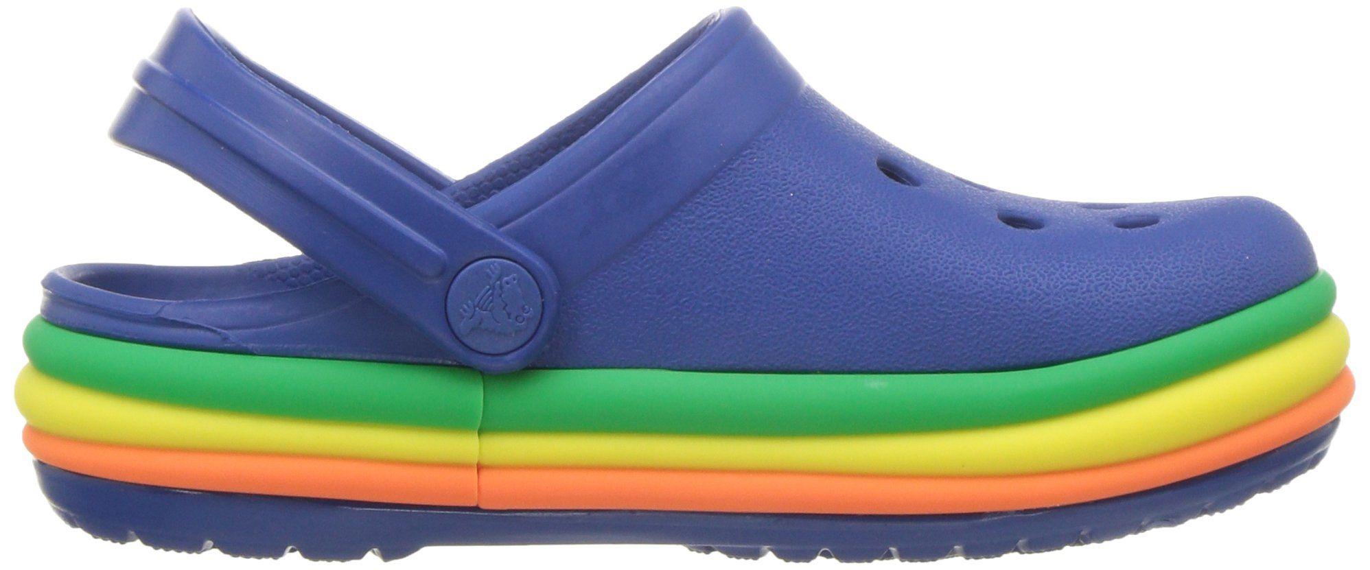 4110b15f5 Crocs Crocband Fun Lab Graphic Rainbow Band Lightup Clog Blue Jean Ocean 9  M US