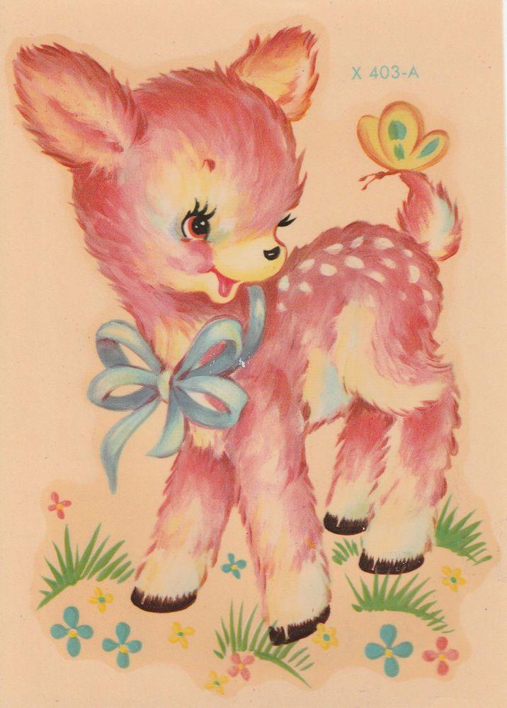 Vintage Meyercord Decals Sweet Pink Deer Fawn Baby