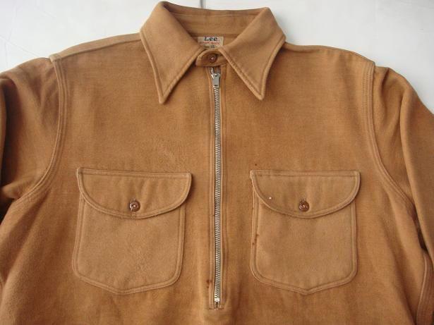 1940 Lee work shirt half zip pullover Moleskin fabric  1b6ba734dd9