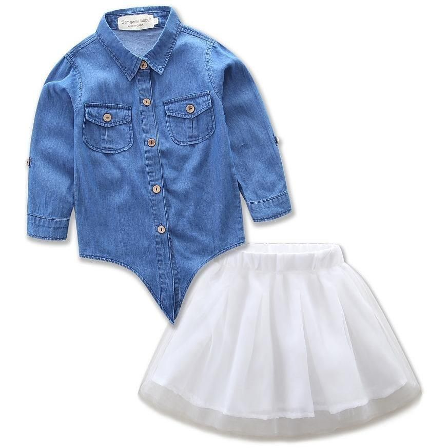 527cdb6a8c19 Bring some sass to your next family photo session with these adorable two  piece outfits. Featuring a fluffy tutu skirt and matching long sleeved denim  top, ...
