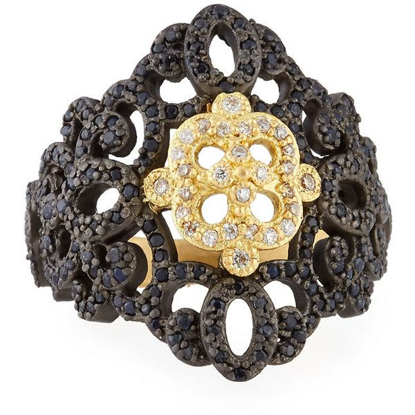 Armenta Old World Filigree Ring with White Diamonds & Black Sapphires Q58YmIiV