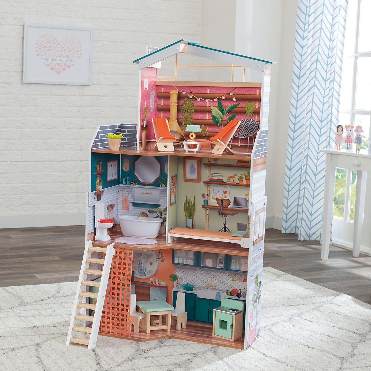 Wood 2 story Barbie doll house,Dollhouse Kit,DIY kit,Miniature Dollhouse,Toyhouse,No Furniture,montessory toys,natural,waldorf toy,3D puzzle