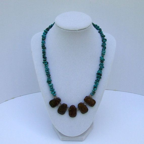 Turquoise Bronzite Necklace Antique pewter boho by JILLreDESIGNS, $18.00
