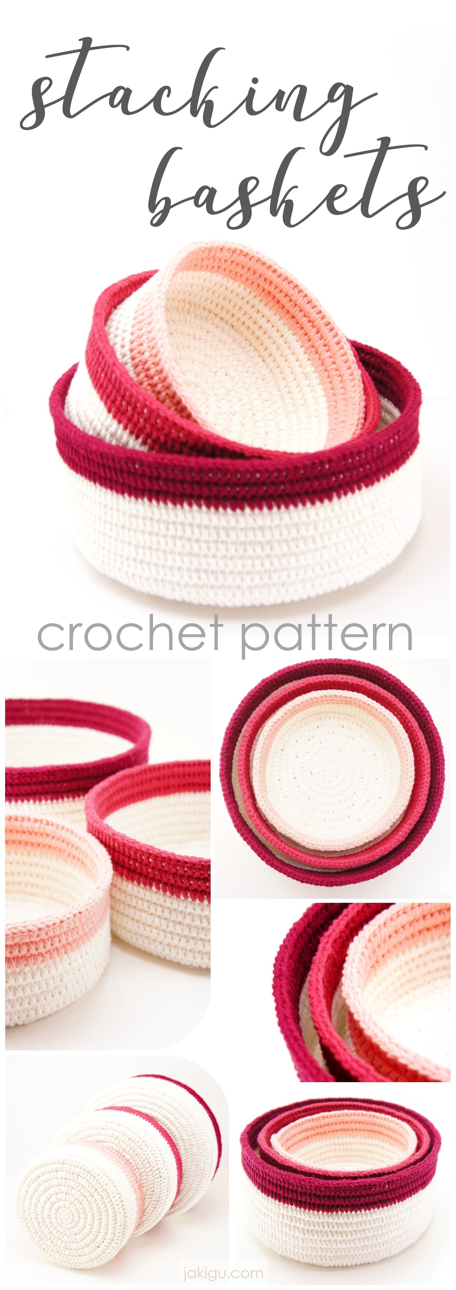 Sturdy and durable crochet basket pattern / stacking crochet baskets ...
