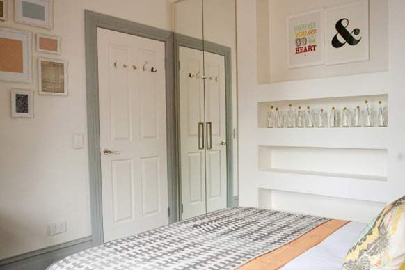 Sophie & Dale's guest bedroom. I like the recessed shelving, great for display purposes. #theblock2012