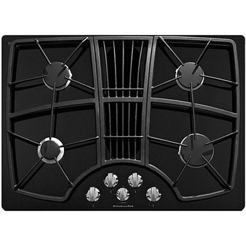 "Kitchenaid KGCD807XBL 30-Inch, 4-Burner Downdraft Cooktop by KitchenAid. $1344.60. KitchenAid KGCD807XBL 30"" Gas Cooktop with 325 CFM Downdraft Vent, 4 Sealed Burners, Simmer Burner, 2-Speed Fan Control and Ceramic Glass Top: Black"
