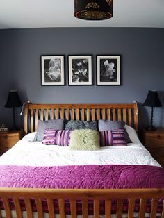 Grey Walls Pine Bed Gray Bedroom Walls Purple Bedrooms Grey Walls