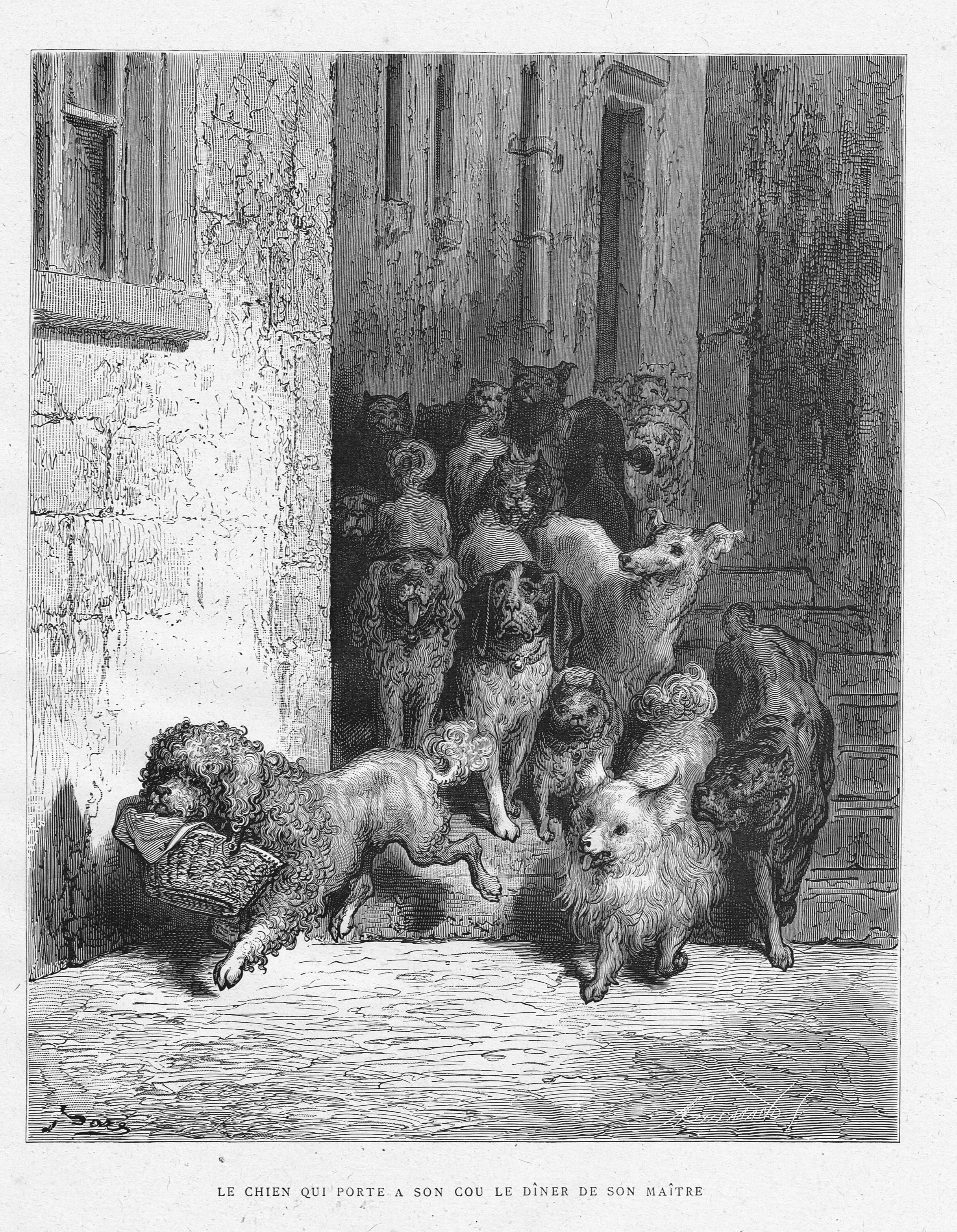 Le Chien Qui Porte A Son Cou Le Diner De Son Maitre By Gustave Dore From The Book Les Fables De La Fontaine By Jean De La Fontai Gustave Dore Painting