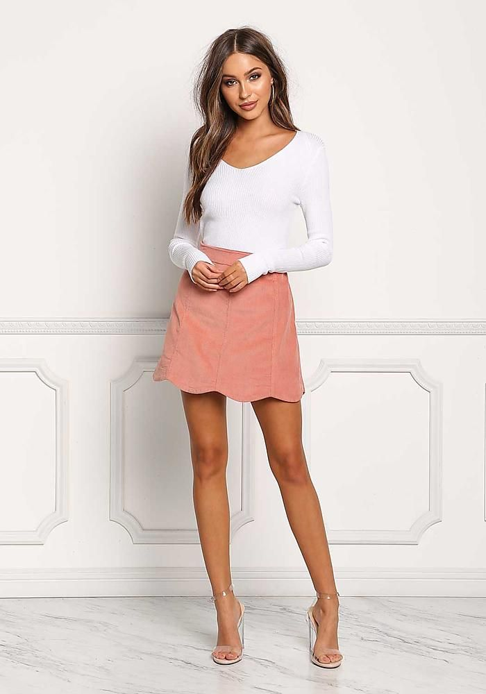 dc96f13aab643 Dusty Pink Corduroy Scallop Skirt - New | Love culture in 2019 ...