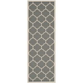 New Stair Runners: Safavieh Indoor/ Outdoor Contemporary Courtyard  Anthracite/ Beige Rug (2