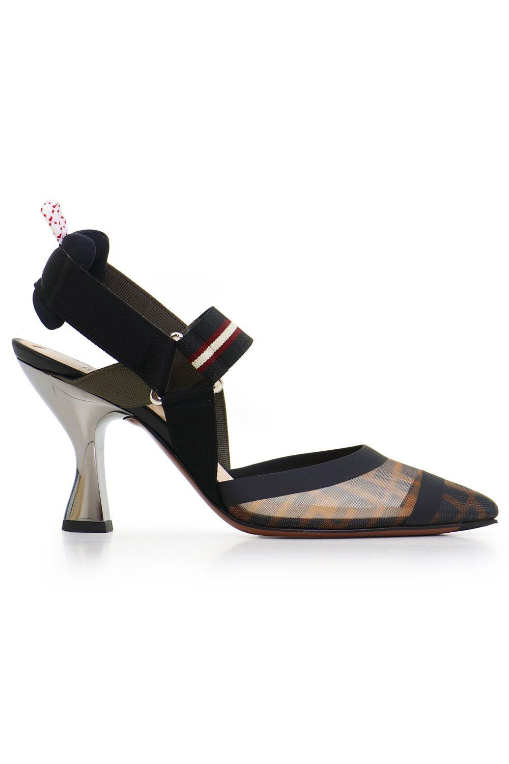 ed29ed7141c The Fendi FF Logo Slingback is crafted in Italy with the FF logo print. The