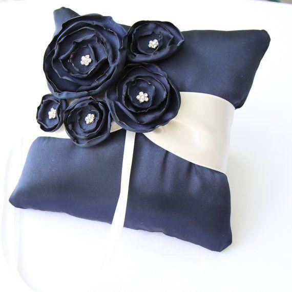 Navy Blue Ring Bearer Pillow