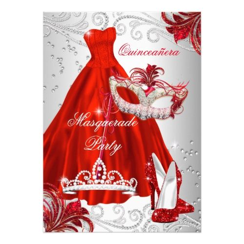 Quinceanera Invitations Red Silver Dress masquerade Quinceanera mask