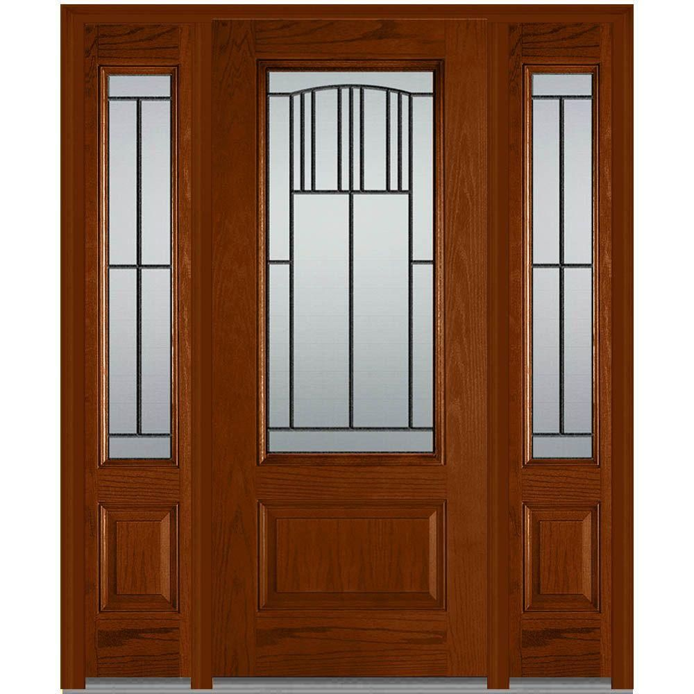 Milliken Millwork 36 in. x 80 in. with 14 in. Sidelites Madison Decorative Glass 3/4 Lite Finished Oak Fiberglass Prehung Front Door,