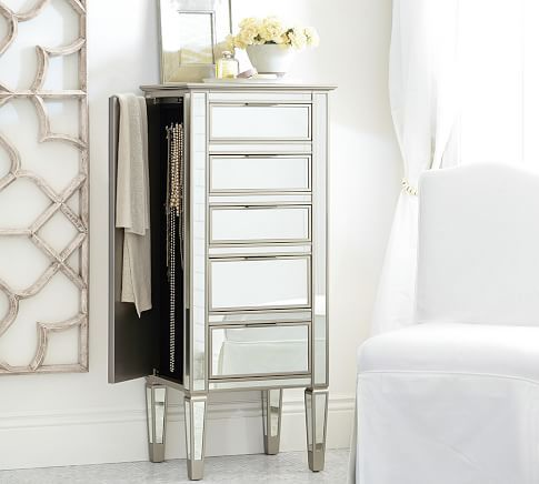 Park Mirrored Tower Dresser | Pottery Barn   This Jewelry Tower Or The  Dresser Tower Would