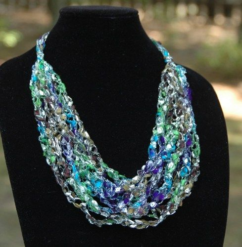Crochet Trellis Necklace Adjustable Ladder Yarn Necklace