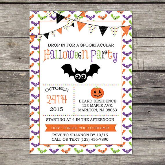 we print halloween party invitation 5x7 or 4x6 by partyprintery