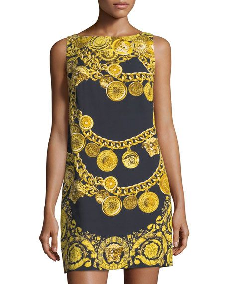 Versace Chain Print Sleeveless Sheath Dress Black Pattern Cloth