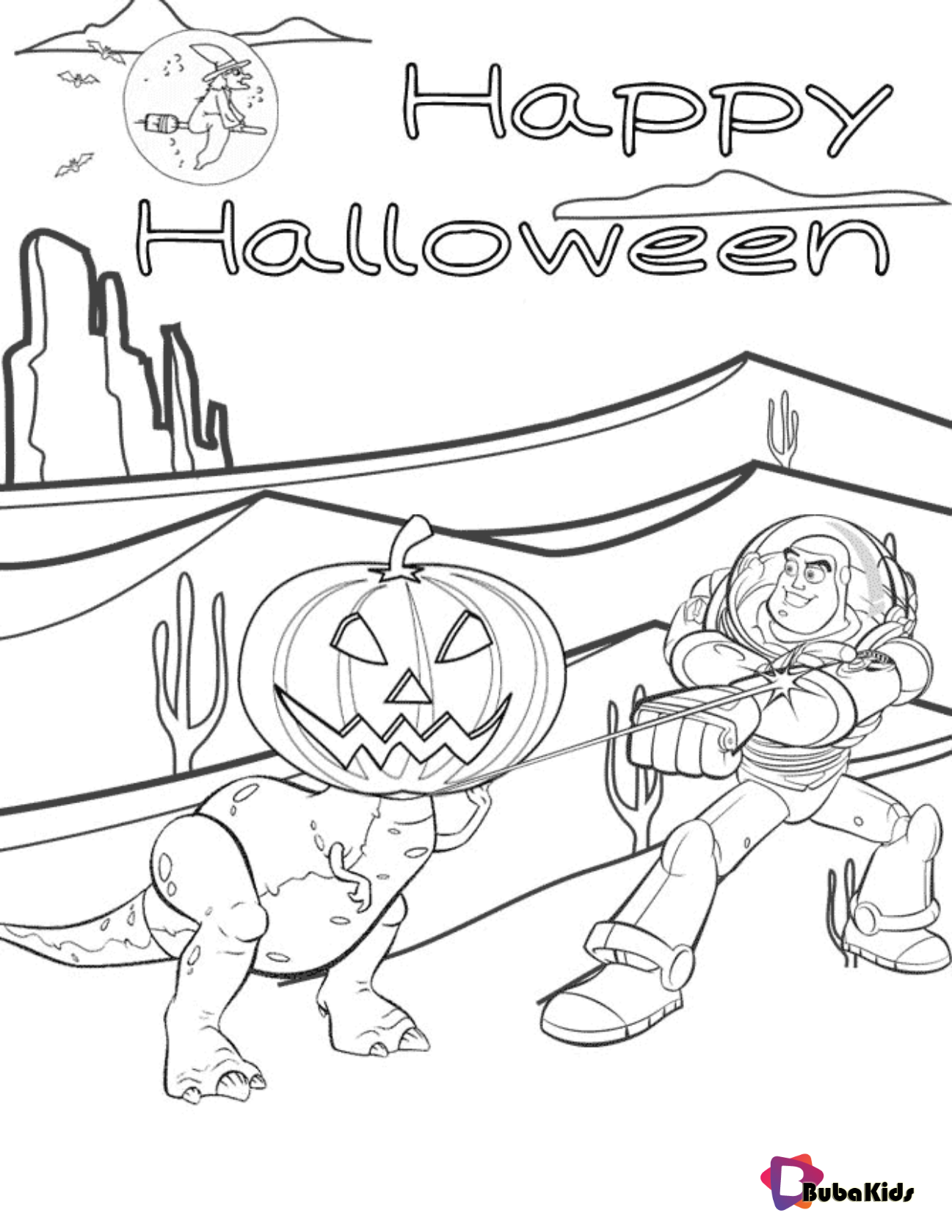 Toy Story 4 Rex and Buzz Lightyear Halloween coloring page ...