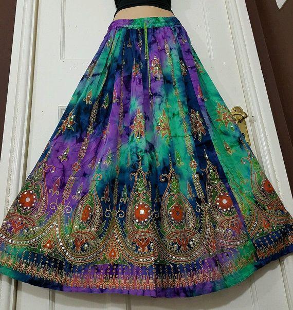 Boho Long Hippie Ladies Skirt Party Gypsy Paillettes hQtCsxrd