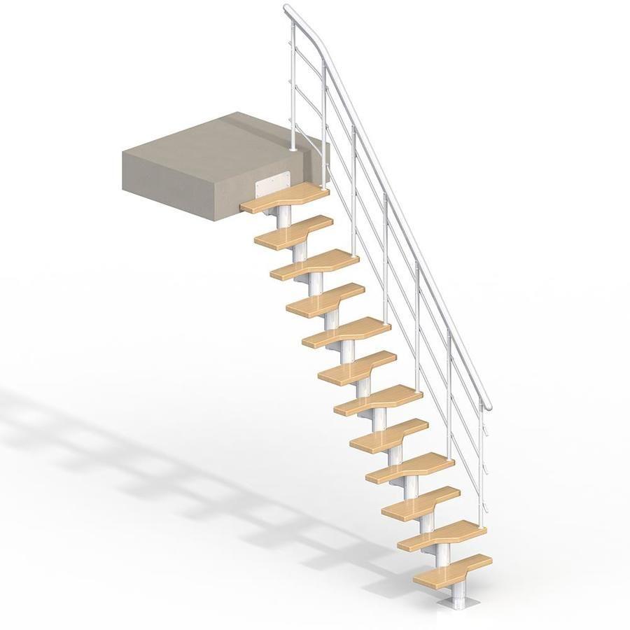 Dolle Lugano 9 Ft White Modular Staircase Kit Lowes Com In 2020 Modular Staircase Staircase Kits Staircase Design