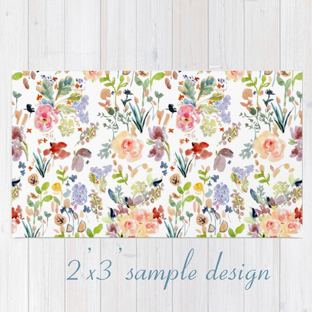 Throw Rug With Watercolor Floral Design Floral Area Rug 2 X3