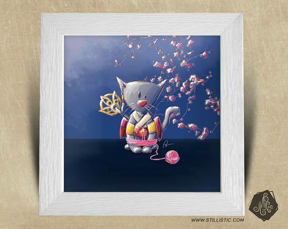 Cadre carré 25x25 cadeau Noël avec Illustration Chaton Geisha