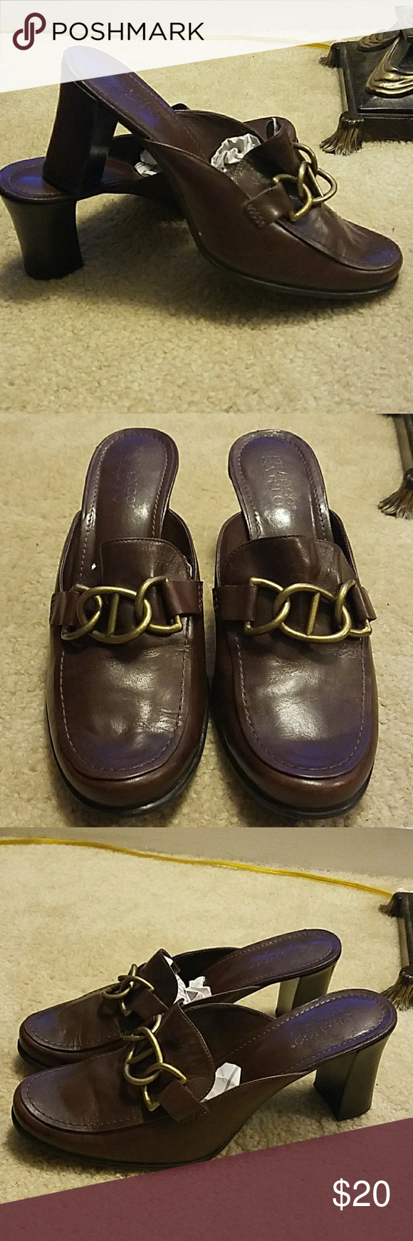 Franco Sarto heeled mules Beautiful brown leather mules in great condition. Size 9. Franco Sarto Shoes Mules & Clogs
