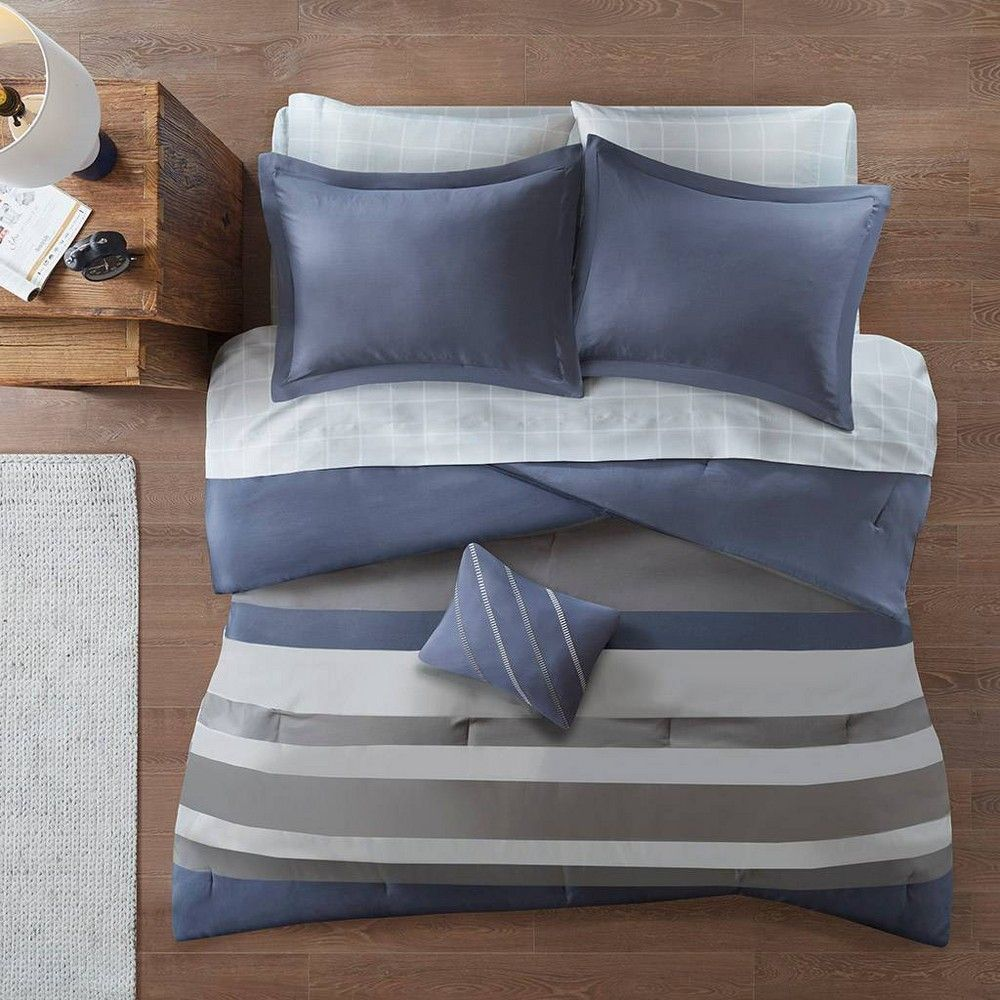 Eddie Twin Extra Long 6pc Complete Bed Set Including Sheets Blue