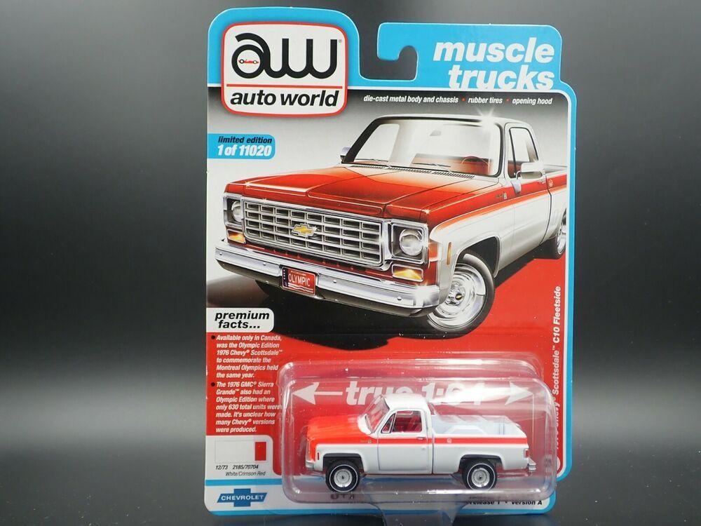 1976 Chevy Scottsdale C10 Fleetside Premium Series Auto World Muscle Trucks 1 64 for sale online