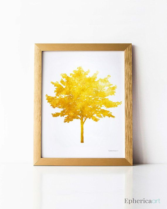 Mustard Yellow Tree Wall Decor, Tree Wall Art Decor, Fall Art ...