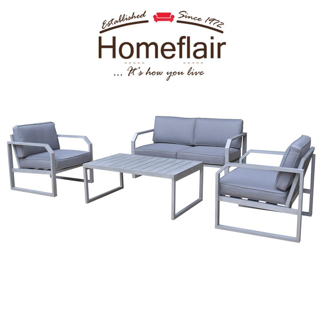 eb39cd10a2b9 Rattan Garden Furniture Alarna Aluminium grey 2 seater sofa + table ...