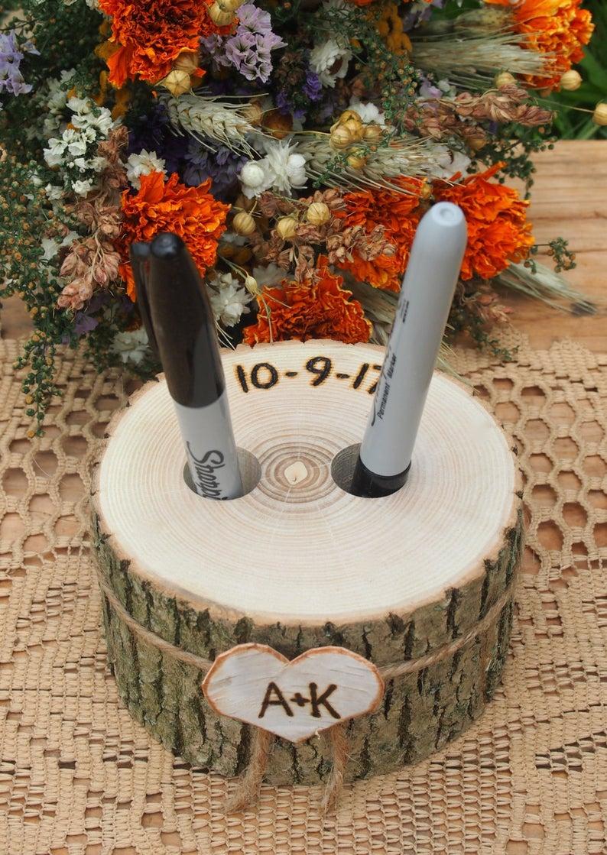 Wood Pen Holder Guest Book Wedding Table Wedding Pen | Etsy