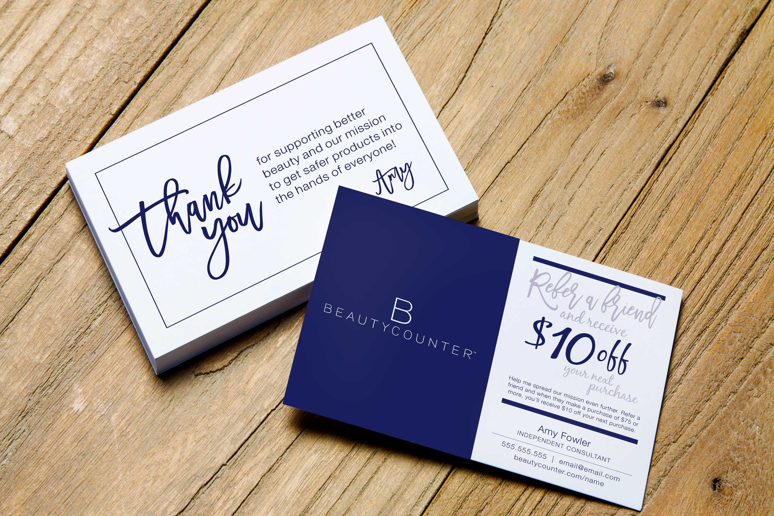 Referral Post Card Personalized Beautycounter Etsy Referral Cards Business Postcards Personal Cards