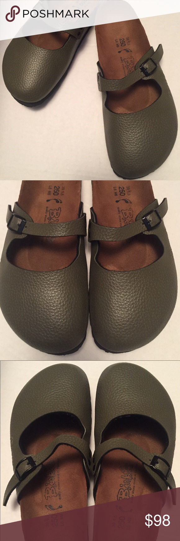 Rare Olive Green Birkenstock Birki Boston Clogs 39